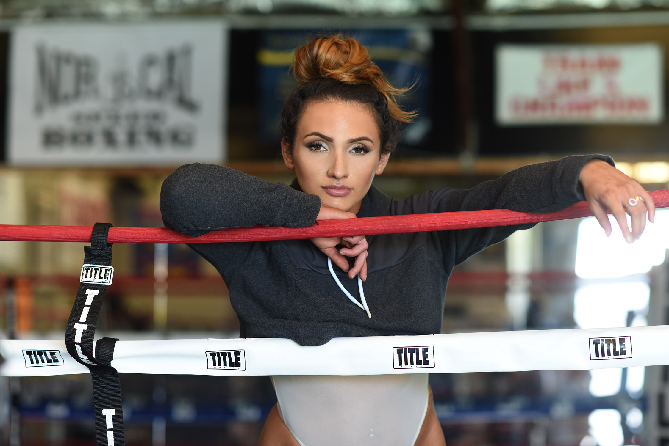 sexy girl in boxing ring